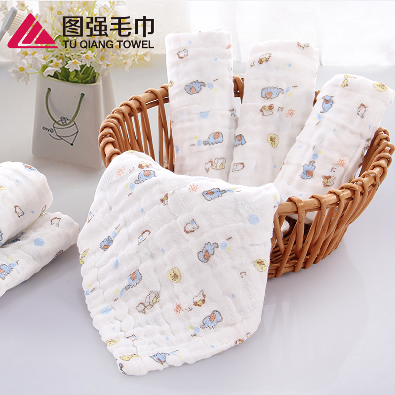 100% cotton 6 layers gauze printed infants baby little square towels
