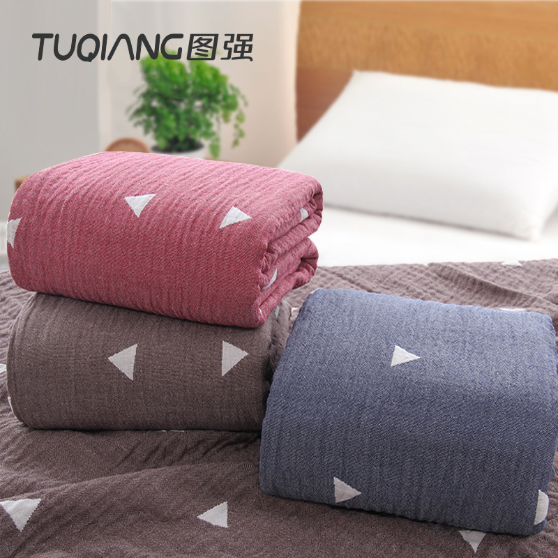 China wholesale 100% cotton gauze customized triangle jacquard quilt blanket